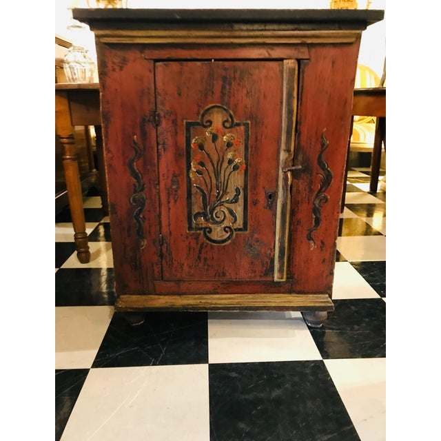Brown 18th Century Swedish, Paint Decorated Cabinet For Sale - Image 8 of 8