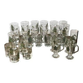 Spode Christmas Drinking Glasses - 28 Pieces For Sale