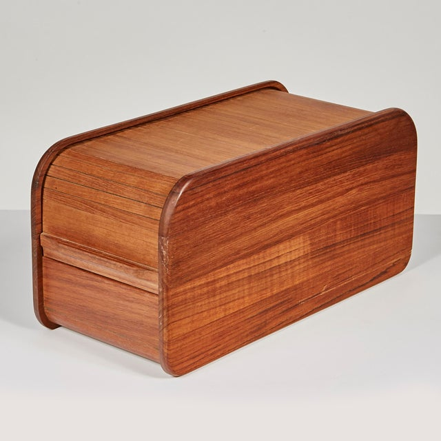 1970s Rectangular Teak Tambour Box For Sale In Boston - Image 6 of 6