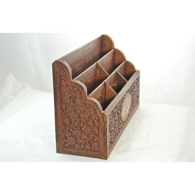 Anglo-Indian Carved Wood & Bone Letter Holder For Sale - Image 3 of 9
