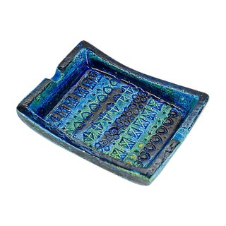 Bitossi Rimini Blue Italian Pottery Tray by Aldo Londi For Sale