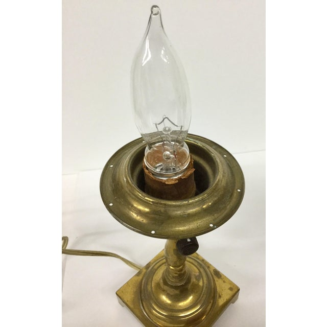 Brass 1940s Small Vintage Brass Table Lamps With Shades - a Pair For Sale - Image 7 of 13