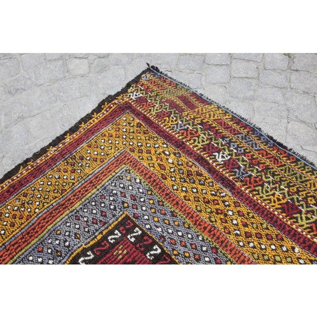 1960s Tribal Vintage Vivid Color Cicim Kilim Rug - 3′4″ × 3′5″ For Sale - Image 5 of 13