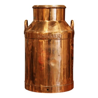 19th Century Belgium Polished Copper Plated Milk Container With Handles and Lid For Sale