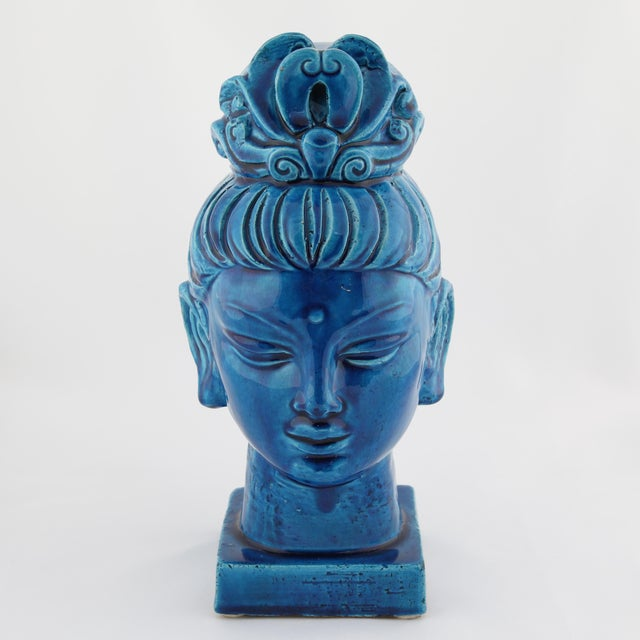 """Blue ceramic Guan Yin bust from Aldo Londi's iconic """"Rimini Blu"""" series for Bitossi, circa 1960s. Variations in blue from..."""