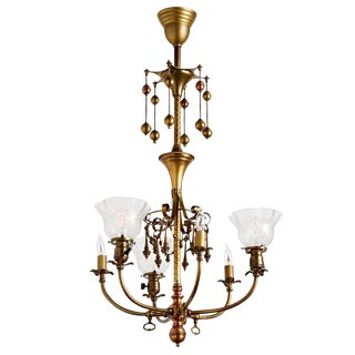 Remarkable 6-light Gas/electric Chandelier W/ Dangling Ornaments Circa 1905