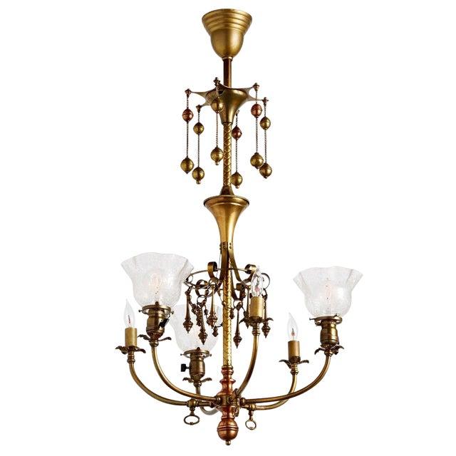 Electric Chandelier Distinguished remarkable 6 light gaselectric chandelier w dangling remarkable 6 light gaselectric chandelier w dangling ornaments circa 1905 image audiocablefo