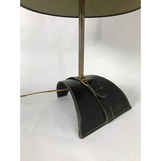Jacques Adnet Jacques Adnet Stitched Leather Table Lamp For Sale - Image 4 of 6