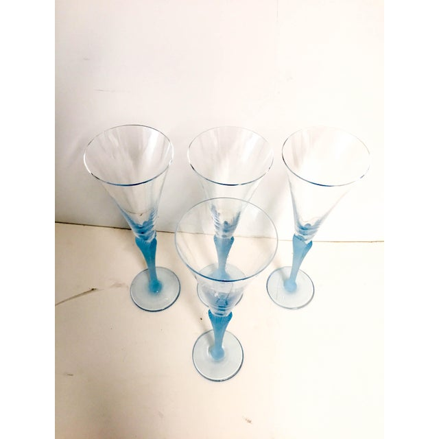 Crystal Light Blue Frosted & Crystal Champagne Glasses - Set of 4 For Sale - Image 7 of 8