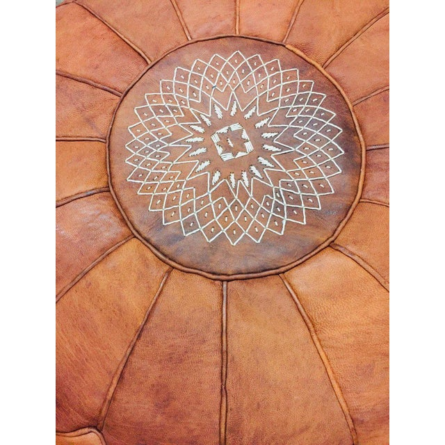 Pair of Round Moroccan Leather Poufs For Sale In Los Angeles - Image 6 of 7