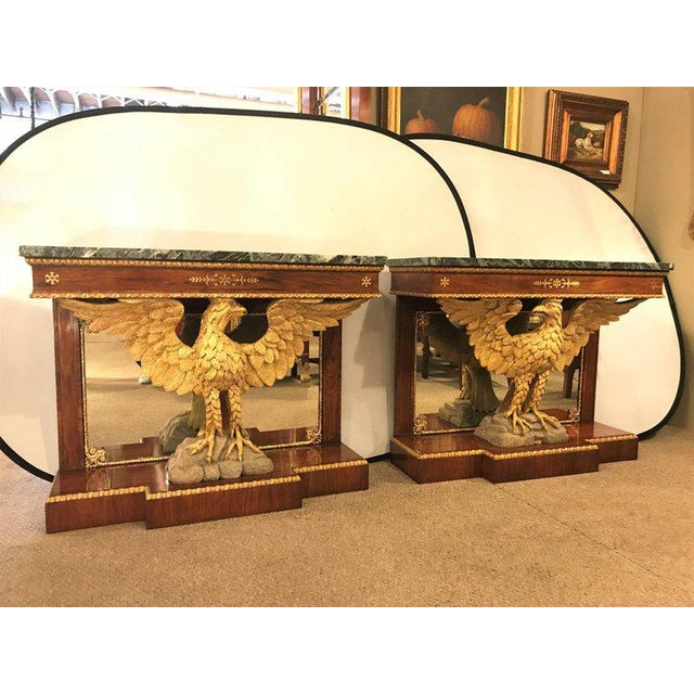Pair of Monumental Federal Style Console Table with Carved Opposing Eagles For Sale - Image 9 of 10