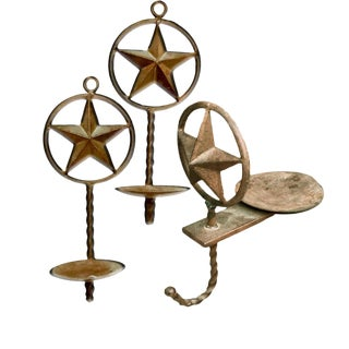 Contemporary Lone Star Western Themed Rustic Iron Candle Sconces & Holder - Set of 3 For Sale