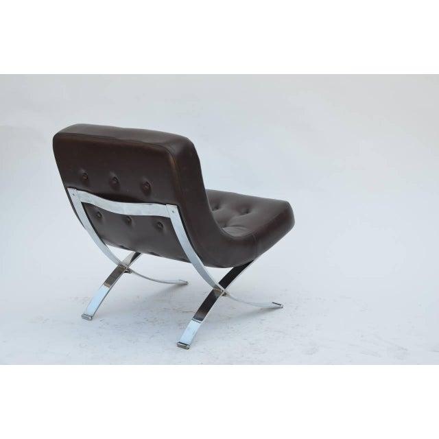 Pair of Chromed Italian 1970s Slipper Chairs For Sale - Image 4 of 7