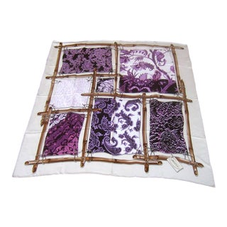 Gucci ItalySilk Hand Rolled Floral & Paisley Scarf For Sale