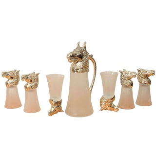 Nickel Plated Horsehead Decanter and Set of (6) Glasses