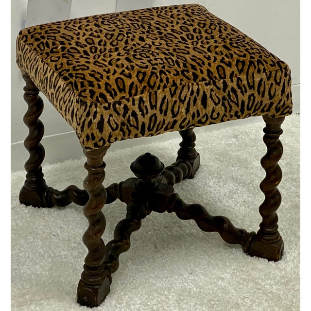 Hickory Chair Furniture Company Vintage Barley Twist Ottoman in Leopard by Hickory Chair For Sale - Image 4 of 4