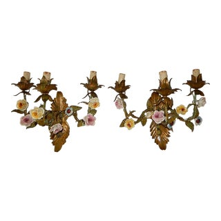 19th Century 3-Light Italian Tole and Porcelain Roses Polychrome Sconces For Sale