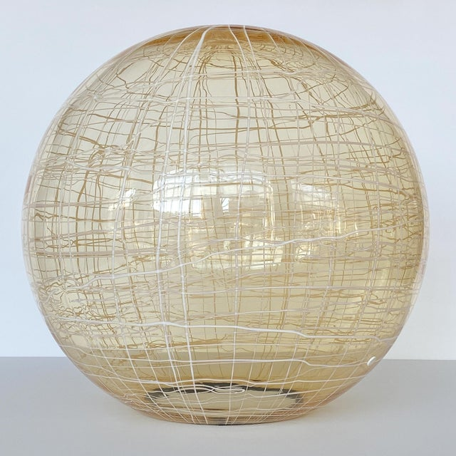 La Murrina Pale Yellow Globe and Travertine Table / Floor Lamp For Sale - Image 9 of 13