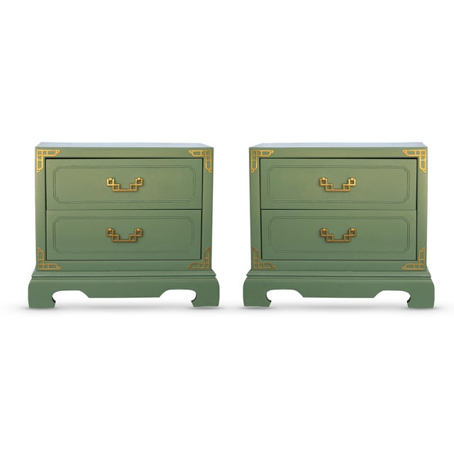 Chinoiserie Campaign Green Nightstands - Pair - Image 2 of 4