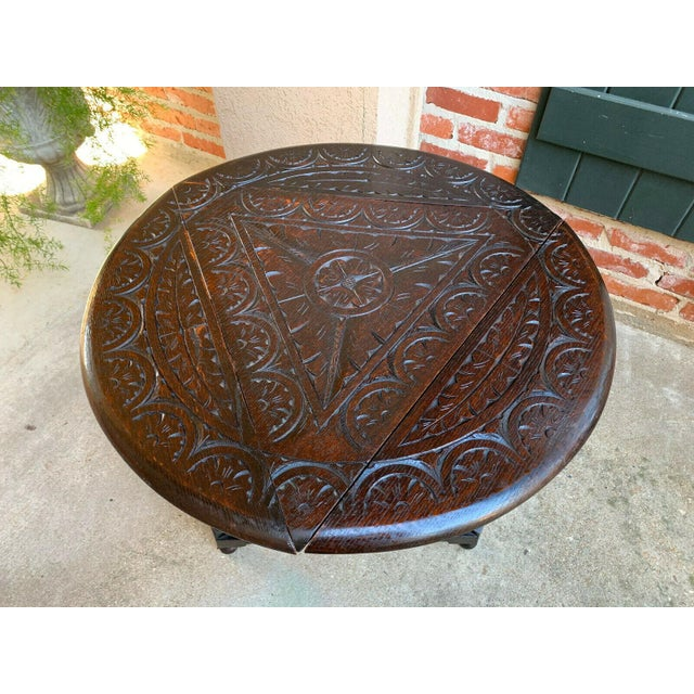 Antique English Carved Oak Envelope Handkerchief Drop Leaf Round Table Corner For Sale - Image 10 of 13