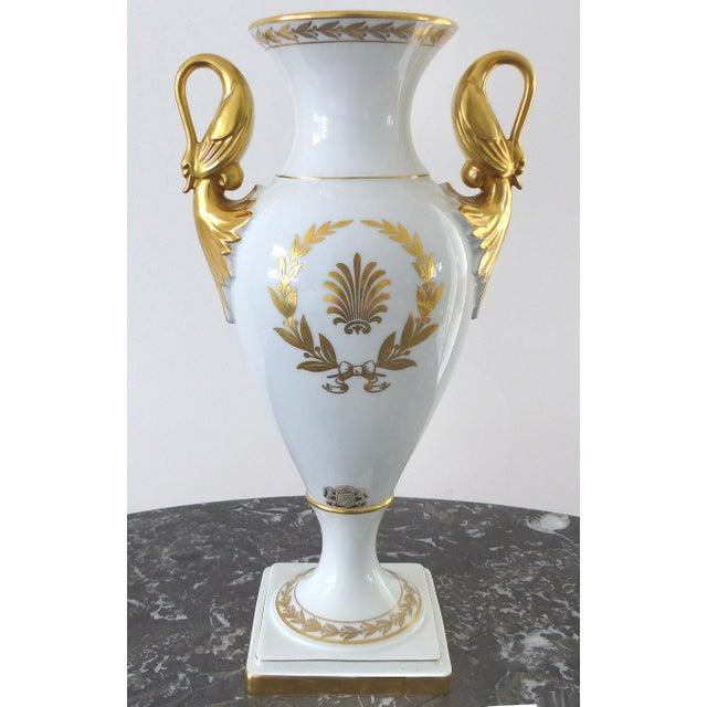 European Porcelain Swan Handle Urn - Image 2 of 11