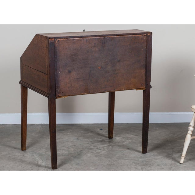 Mid 18th Century Antique English George III Period Oak Slant Front Desk circa 1760 For Sale - Image 5 of 10