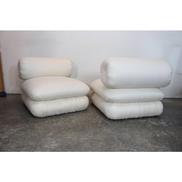 Pair ofand Sculptural Roll Back Slipper Chairs and Ottomans For Sale - Image 4 of 8
