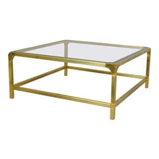 1960s Polished Brass With Inset Glass Coffee Table by Mastercraft For Sale