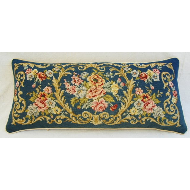 Custom 19th-C. French Needlepoint Floral Pillow - Image 11 of 11