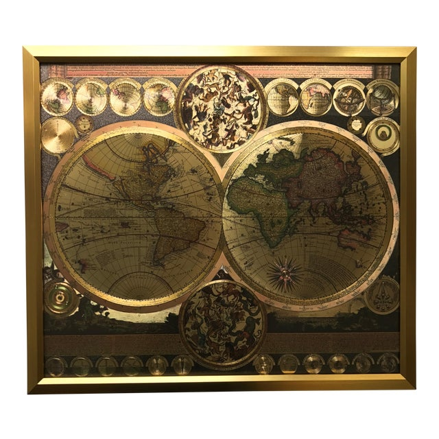 Framed gold foil world map print chairish framed gold foil world map print gumiabroncs Choice Image