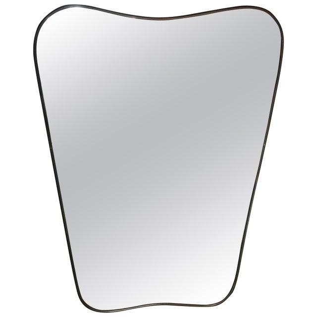 Italian Minimal Curvilinear Brass Mirror, 1950s For Sale - Image 9 of 9