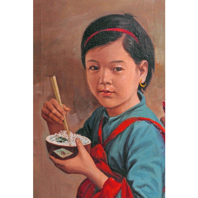 Asian Chinese Oil Painting of Young Girl Carrying Baby For Sale - Image 3 of 12
