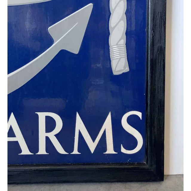 "Blue Vinage English Pub Sign, ""The Royal Naval Arms"" For Sale - Image 8 of 13"