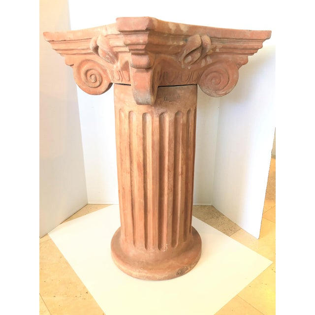 Impressive Italian garden column from Siena, Italy. Made entirely of clay by skilled artisans. Includes two separate...