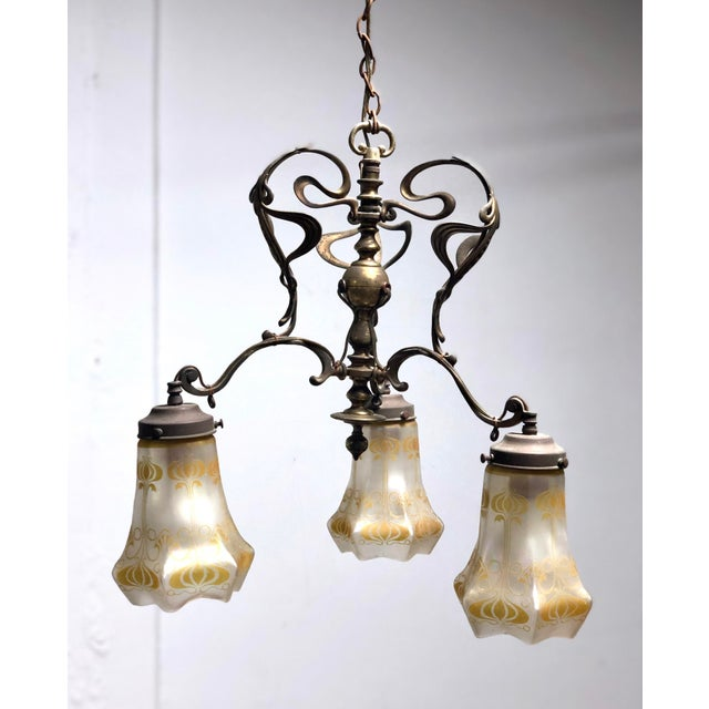 Antique Art Nouveau Brass 3-Shade Chandelier For Sale - Image 13 of 13