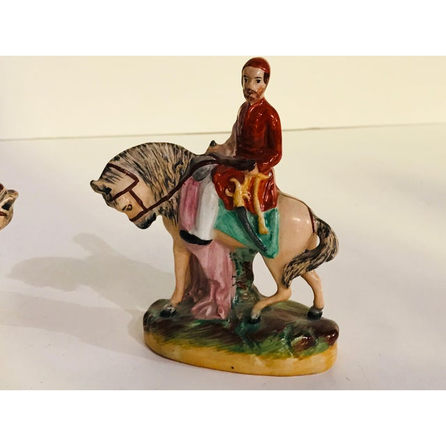 Ceramic Antique Staffordshire Figurines on Horseback - a Pair For Sale - Image 7 of 8