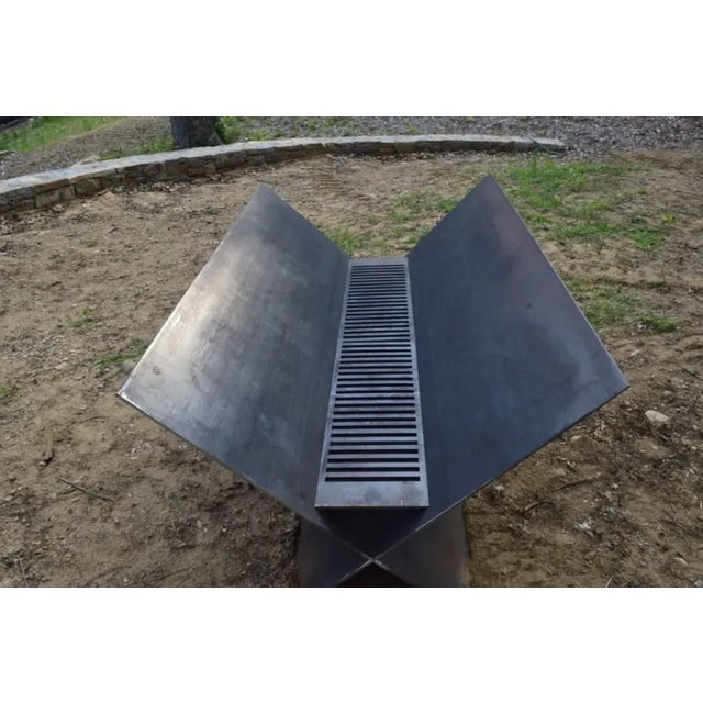 Contemporary Minimalist Steel Patio or Garden Fire Pit by Scott Gordon For Sale - Image 4 of 6