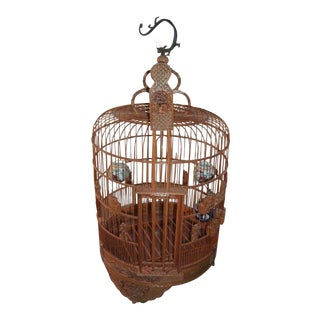 Asian Bamboo Carved Birdcage With Sliding Door For Sale