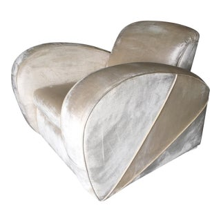 Art Deco Pearl White Mohair Jazz Club Chair W/ Speed Arms For Sale
