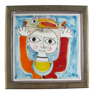 1960s DeSimone Hand Painted Fisherman Ceramic Tile Wood Frame For Sale