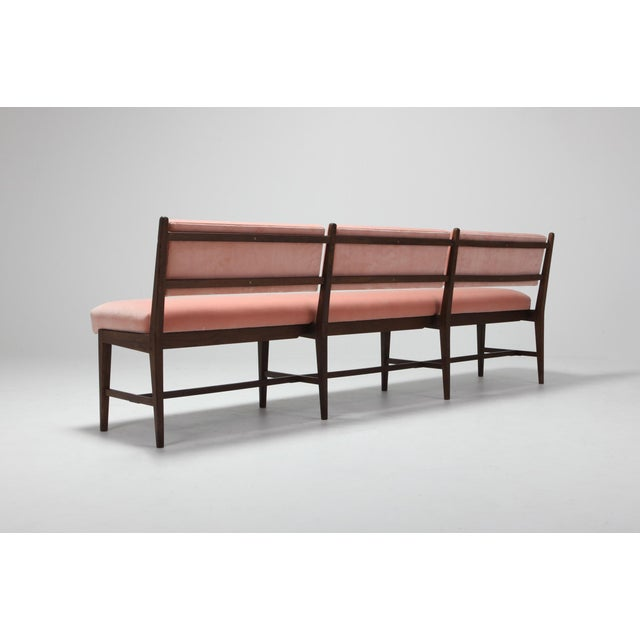 1960s Midcentury Scandinavian Modern Bench in Pink Velvet and Wenge For Sale - Image 5 of 9