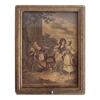 1920s Vanity Box With Mirror and Print of a French 18th-Century Pastoral Scene For Sale