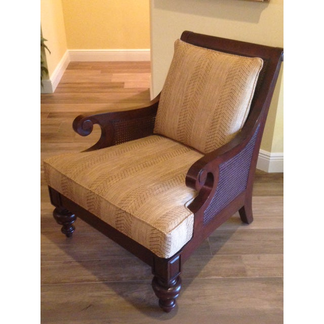 Ethan Allen Rattan & Cherry Wood Accent Chairs - A Pair - Image 3 of 6