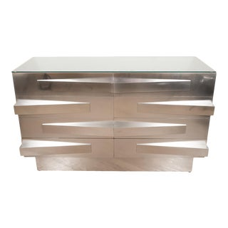 Pair of Stainless Steel Brutalist Style Chests For Sale