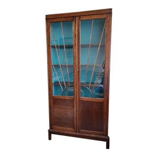 Outstanding English Oak Arts & Crafts Bookcase W/ Sunburst C.1920 For Sale