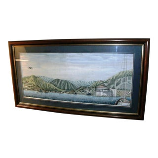 George Rosu Hand Signed Hand Water Color Painted Lithograph, Avalon, Catalina Island For Sale
