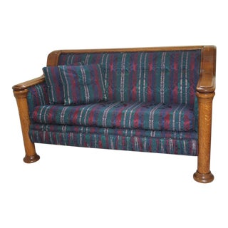 Early 1900s Vintage Tiger Oak Upholstered Settee For Sale