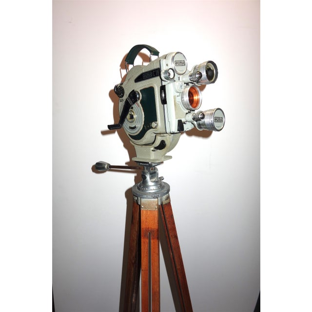 Art Deco 1956 Austrian Motion Picture Camera on Wood Tripod Vintage Perfect Display For Sale - Image 3 of 12