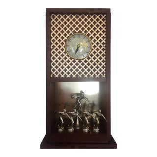 1950s Vintage Mid Century Walnut and Metal Bowling Clock For Sale