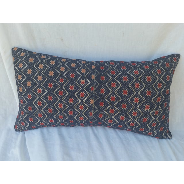 Indigo Red Star Embroidered Pillow - Image 2 of 5